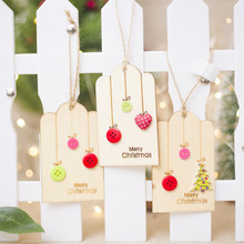 2019 1pcs Merry Christmas Cute Buttons Ornaments Creative Wooden Hanging Pendant Home Tree Party Decorations