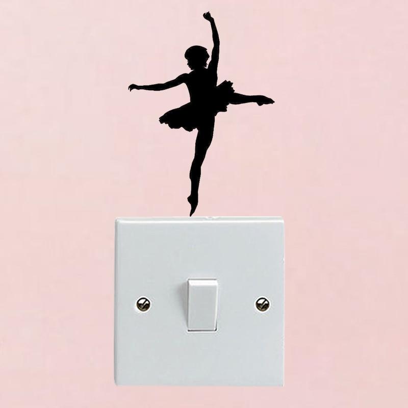 Ballerina Girls Home Decor Wall Decal Fashion Switch Sticker Vinyl 6SS0079