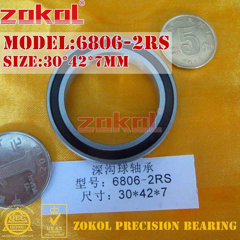 ZOKOL 6806RS bearing 6806 2RS 1000806 6806-2RS Deep Groove ball bearing 30*42*7mm zokol 6314 2rs bearing 6314 2rs 180314 deep groove ball bearing 70 150 35mm
