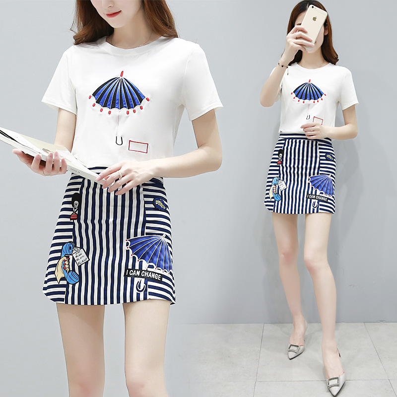2019 nya koreanska sommarkläder kvinnor tröja set o-hals bomull - Damkläder - Foto 4