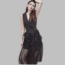 2019 nueva llegada de las mujeres sin mangas de traje de chaleco de malla  Patchwork Irregular vestido negro largo vestido S M L 996463af567a