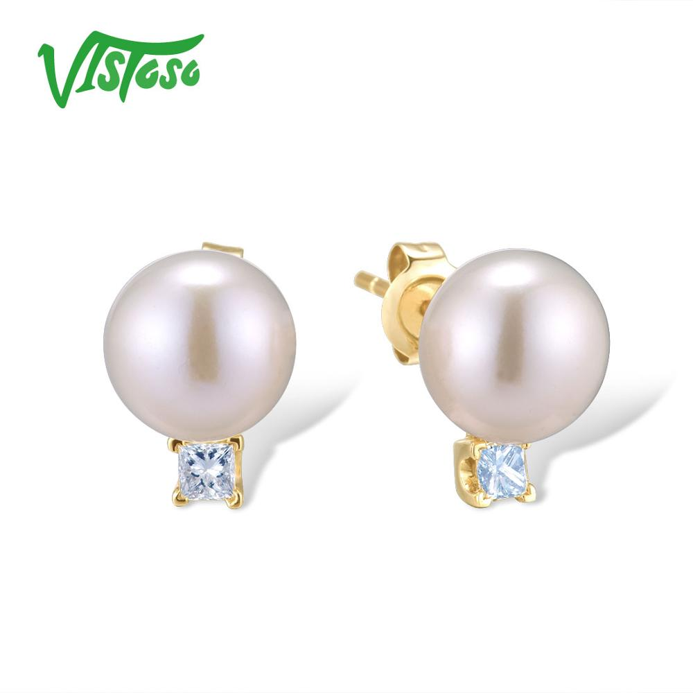 VISTOSO Pure 14K 585 Yellow Gold Earrings For Women Sparkling Diamond Fresh Water Pearl Unique Trendy Elegant Fine JewelryVISTOSO Pure 14K 585 Yellow Gold Earrings For Women Sparkling Diamond Fresh Water Pearl Unique Trendy Elegant Fine Jewelry