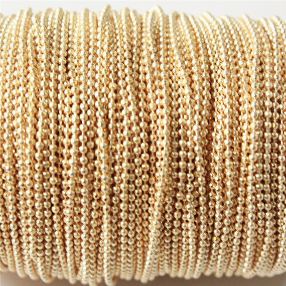packs of 124 meters chain 1.5 mm for jewelry making Brown brass ball chains sparkle Gold 1.5 mm