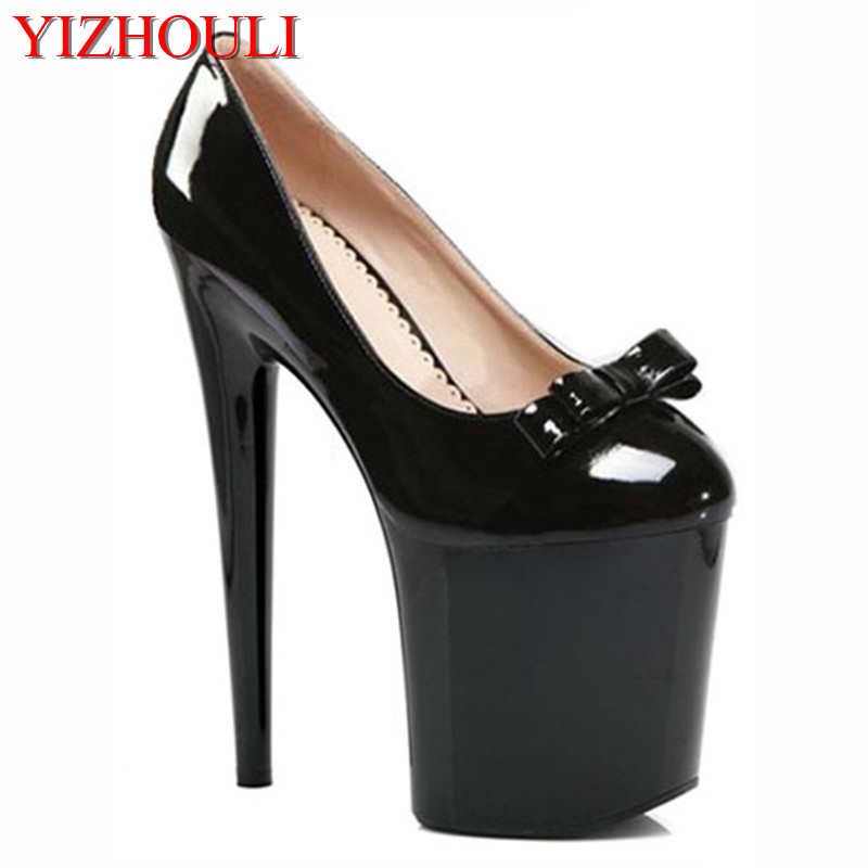Platform Sexy 20cm Ultra High Heels Pump Shoes Closed Toe 8 Inch High-Heeled Shoes Sexy Black Sole Dress Shoes 20cm sexy ultra high heeled platform shoes performance shoes platform black pu leather single shoes 8 inch fashion crystal shoes