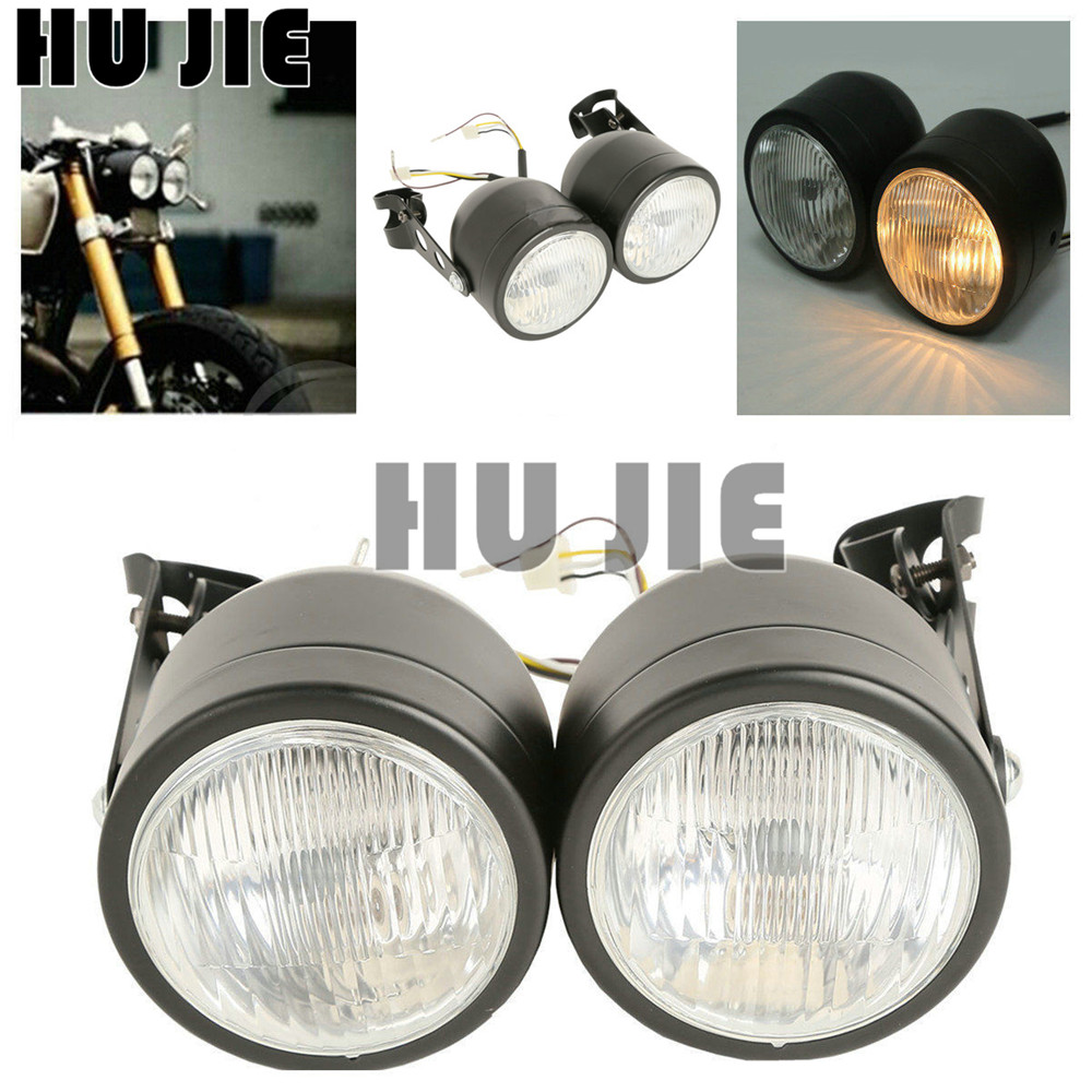Motorcycle Twin Front Headlight lamp W/ Bracket For Harley Street Fat Boy Dual Sport Dirt Bikes Street Fighter Naked Cafe Racer image