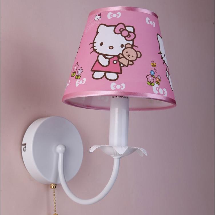 The Princess Bedroom Wall Lamp Pink Hello Kitty Cartoon ...