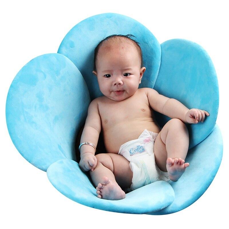 Baby Bathtub For Boys Girls Foldable Soft Flower Petal Shape Bathtub Pad Support Cushion Mat