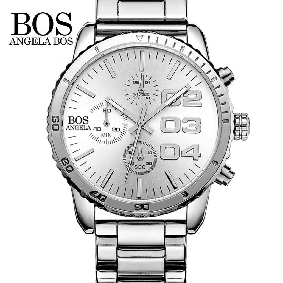 цены  ANGELA BOS Chronograph Stop Watch Timer Sports Watches Man Fashion Watches Luxury Watch Men Stainless Steel Back Water Resistant