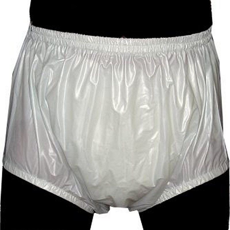 Free Shipping FUUBUU2201-White-S-2PCS Pull On Plastic Pants Underwear Men Boxers Shorts Men Pvc Incontinence Shorts