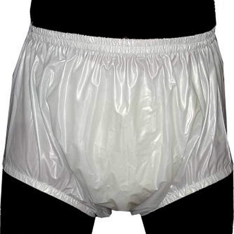 Gratis verzending FUUBUU2201-White-S-2PCS Pull op plastic broek ondergoed mannen boxers shorts mannen pvc incontinentie shorts