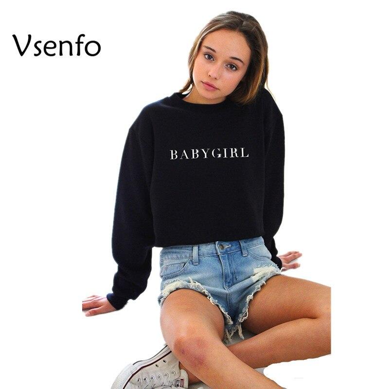 Vsenfo BABYGIRL Black Hoody Sweatshirts Hoodies Casual Pullover Exo Sweatshirts Long Sleeve Crew Neck Tops Moletom Feminino