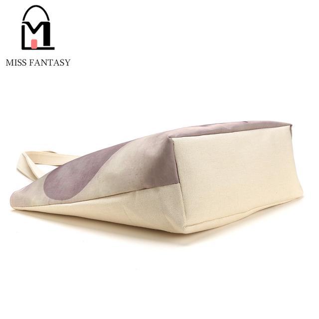 Fashion Girl Printed Canvas Tote Female Casual Beach Bag Large Capacity Women Single Shopping Bag Daily Use Canvas Handbags