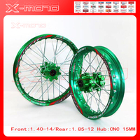 15mm Front 1.60 14 Rear 1.85 12 Alloy Wheel Rim with CNC Hub For KAYO HR 160cc TY150CC Dirt / Pit bike 12 14 inch Green wheel
