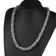Granny Chic 10mm Wide Chain Necklace for Men Stainless Steel Silver Byzantine Link Mens Necklaces Chains Fashion Jewelry chic wide link rhinestone flower necklace for women