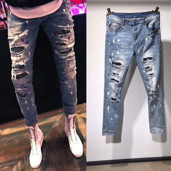 S-XL!  New 2018 splashed ink, broken knee, diamond, elastic slim jeans, fashionable cat whiskers and men's trousers