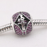 New 925 Sterling Silver Bead Charm Openwork Ball Pave Minnie With Crystal Beads Fit Pandora Bracelet Bangle DIY Jewelry