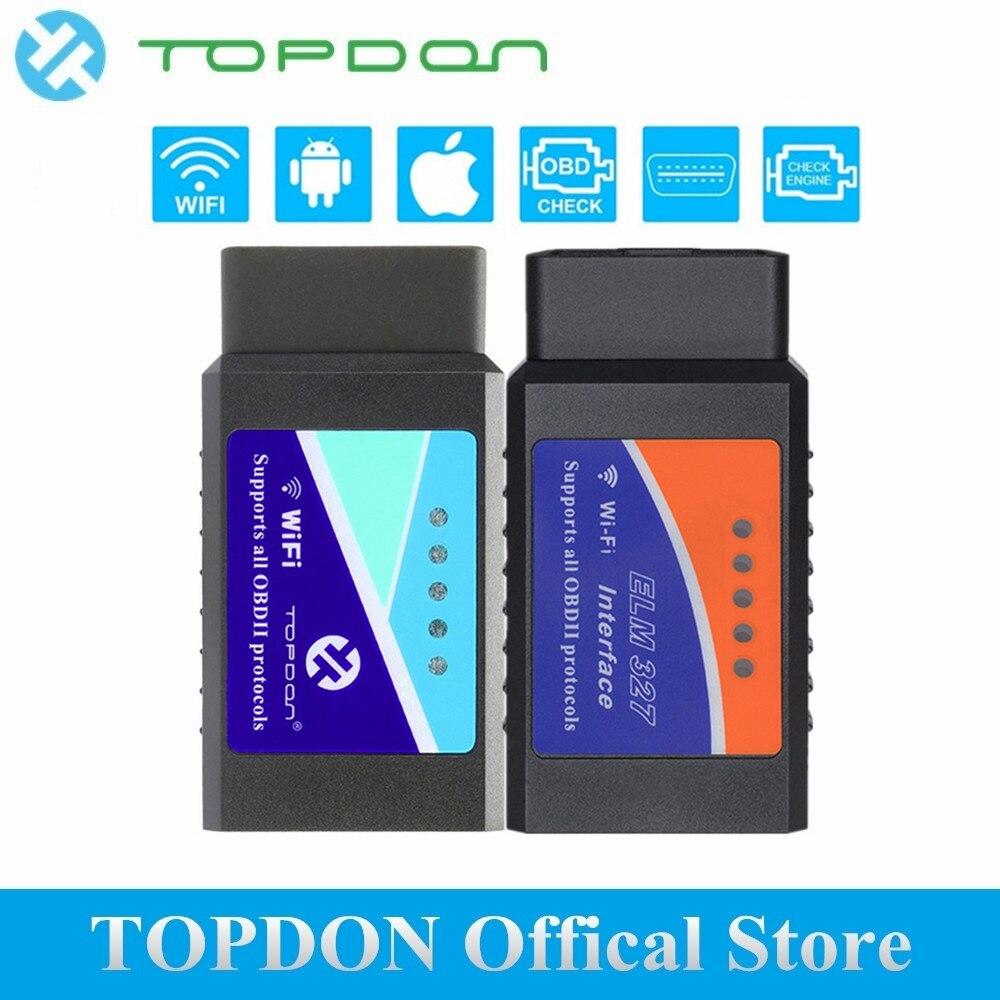 TOPDON 327 V1.5 Chip PIC18F25K80 Super Mini ELM327 OBD2 Connettore OBDII EOBD ELM327 Scanner WIFI Luce Camion Auto di Controllo Del Motore