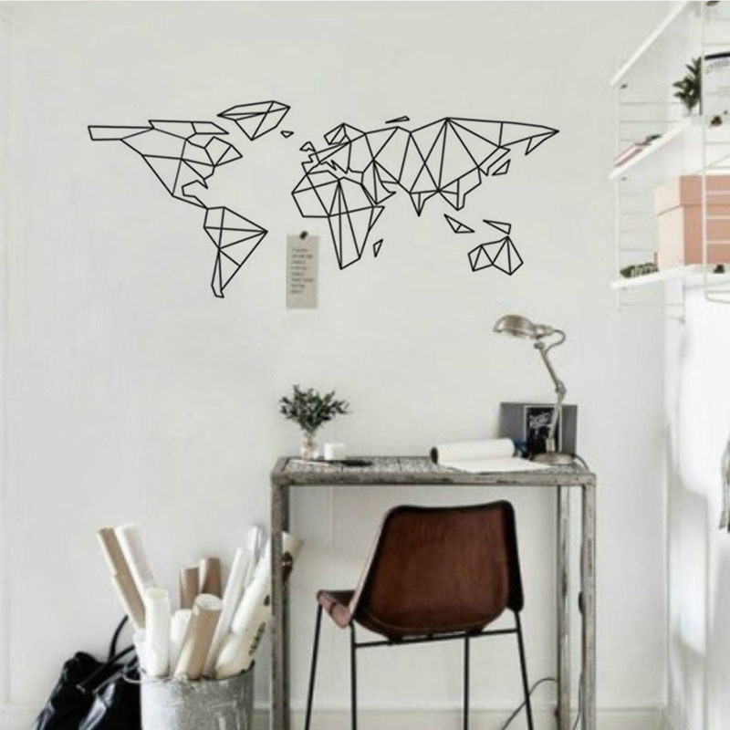 Geometric world map wall stickers adhesive wallpaper vinyl removable geometric world map wall stickers adhesive wallpaper vinyl removable room decoration wall decal in wall stickers from home garden on aliexpress gumiabroncs Image collections