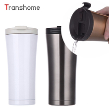 Transhome Café Doble Pared de Acero Inoxidable Termo Taza de 500 ML Caliente Botellas de Agua de Viaje Relajante Moda Vaso Vacío Frascos