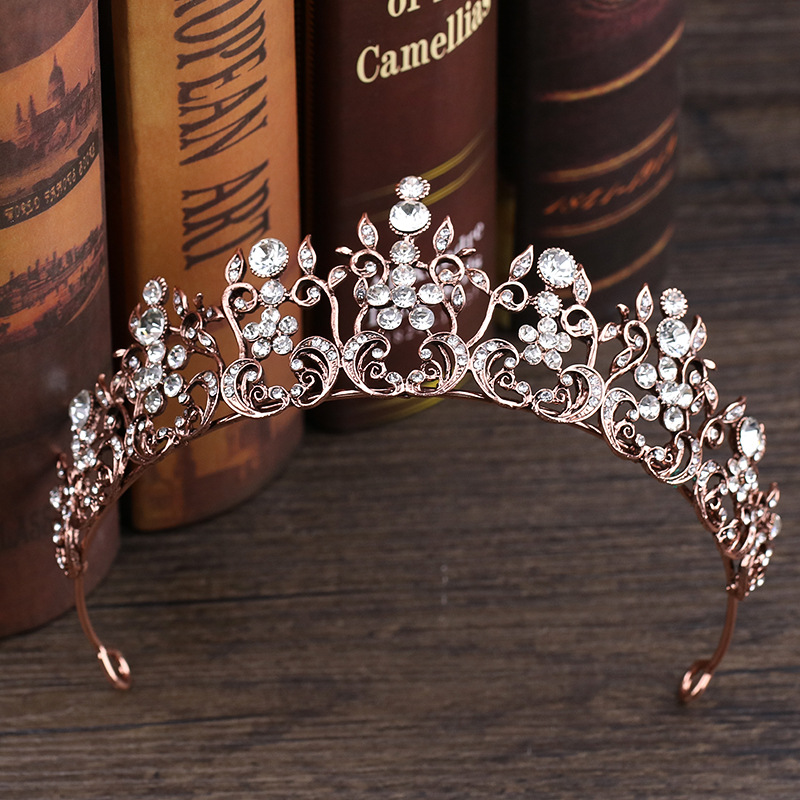 Vintage Luxury Crystal Women Diadem Rose Gold Rhinestone Crown And Tiara Wedding Headband Bridal Hairband For Bride Hair Jewelry rhinestone pearl flower bridal crowns handmade vintage gold tiara headband crystal diadem crown wedding hair accessories
