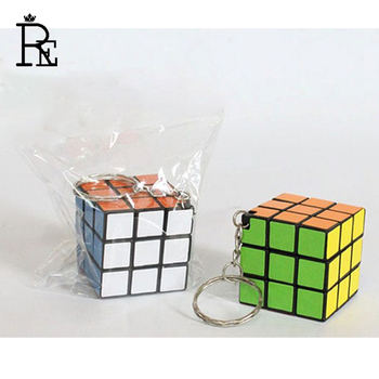 RE 100pcs/lot Resin 3*3*3cm Speed Puzzle Magic Cube Keychain Hoder Baby Education Keyring For Adult Relieve Stress Gift