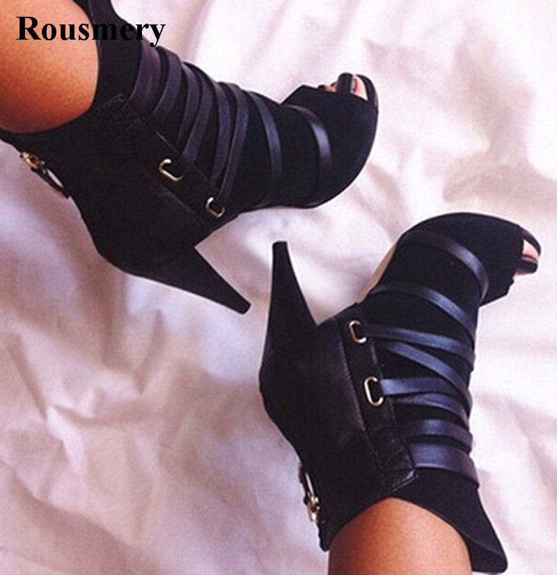 Women Open Toe Black Suede Leather Lace-up Ankle High Heel Boots Back Zipper-up Short Boots Cut-out Boots Spike Heel Boots new year designer army green suede lace up high heel boots thick square heel open toe lace up strappy ankle motorcycle boots