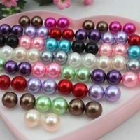 Cuadro de corazón 72 unids (36 pares) colorido 12mm ronda mezcla de colores brillo nacarado perla stud w/caja de regalo de corazón y frutos secos sin