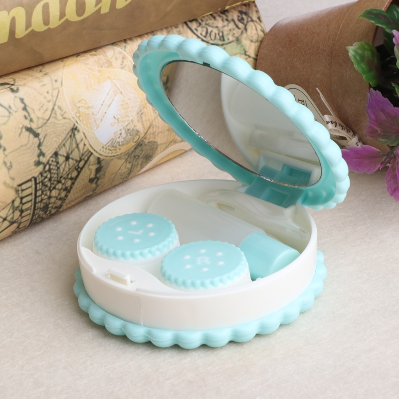Cartoon Biscuit Shape Contact Lens Travel Case Box Holder Portable Accessaries