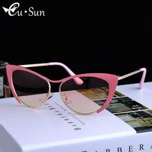 2016 Fashion Women Cat Eye Sunglasses Classic Brand Designer Alloy metal Frame Sunglasses Coating Mirror HD Lens