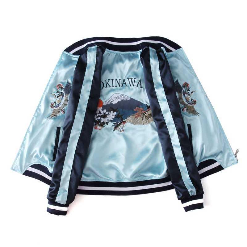 春女性可逆ジャケットスタンド襟刺繍クレーン虎可逆野球均一ヴィンテージ緩い短いコートHF294