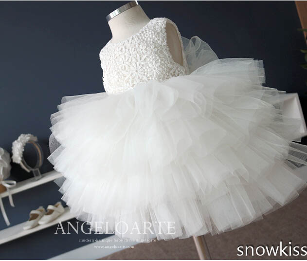 Tiered tulle cupcake ivory Flower Girl Dresses soft tulle toddler birthday party frocks baby tutu christening dress baptism gown tiered tulle cake flower girl dress ruffles baby girl christening dresses lace baptism gown for 1 year birthday with bonnet