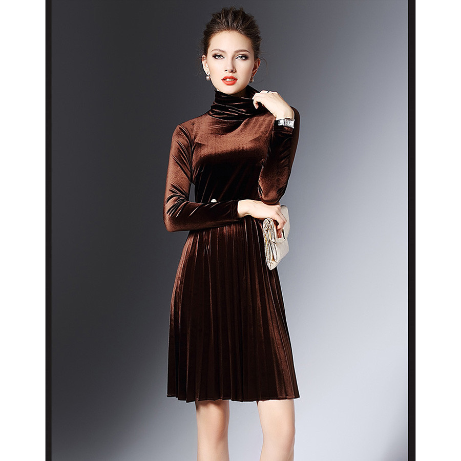 Image 2 - 2016 New Fashion Autumn Winter Warm Turtleneck Velvet Dress For Women Pearl Elegant Vintage Sexy Party Dresses Pleated Vestidos-in Dresses from Women's Clothing