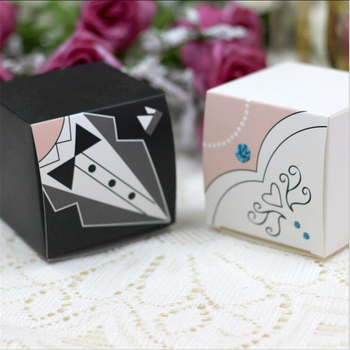 200pc/lot The bride and groom Candy box/Bombonera/candy jar, candy packaging/wedding gift/cart/chocolate box,  bonbonniere