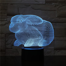 Rabbit LED Night Light 3D Illusion 7 Color Changing Decorative Light Child Kids Girl Gift Animals Bunny Desk Night Lamp Bedside