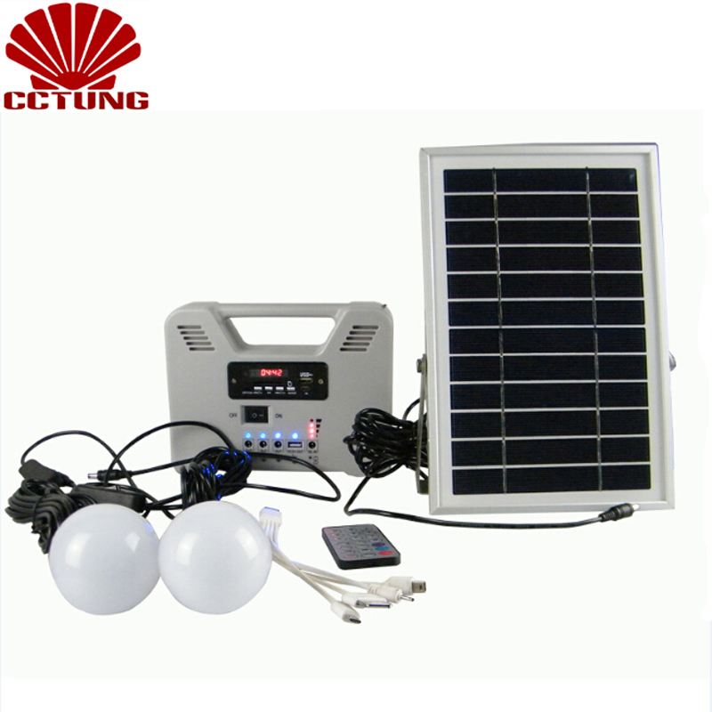 Portable Solar Power System with 2 lighting/MP3/Radio/Bluetooth/Remote Controller Box Charger for Mobile Phone & Other Charging