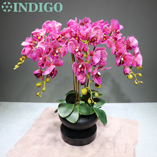 Purple Spot Orchids Flower Arrangment ( 6pcs flower+3 leaf) Real Touch Wedding Decorative Event Free Shipping