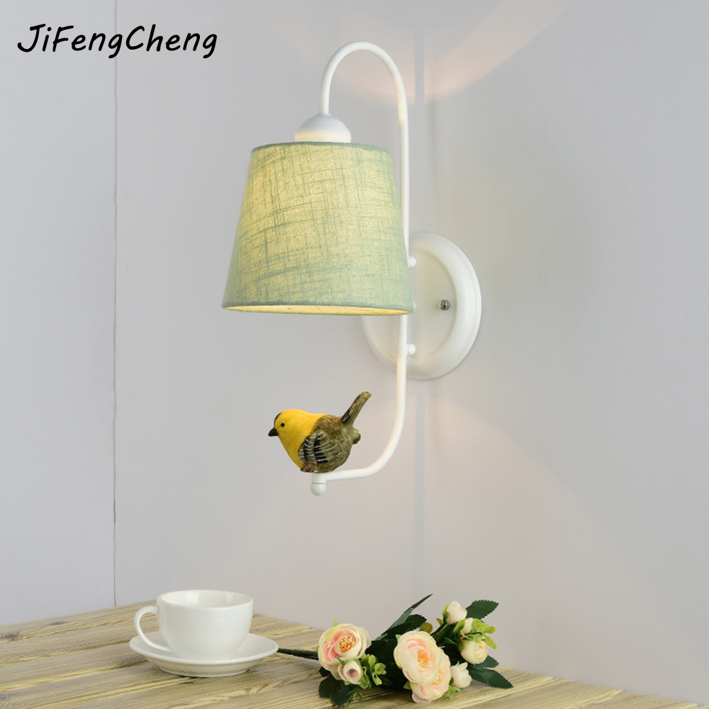 JIFENGCHENG Modern Minimalist LED Cloth Wall Lamp Bedside Lamp Living Room Lighting E27 Wrought Iron Wall Lamp Luminarias art deco retro wall lamp american country wall light resin deer horn antler lampshade decoration sconce free shipping