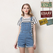 Women's summer European and American style denim sling shorts Explosion models light button, washed, cuffed sling недорого