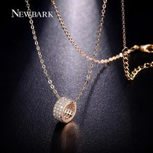 NEWBARK Minimalist Necklaces Pendants Tiny 3 Rows Cubic Zirconia Two Tone Necklace Bijoux Femme For Best