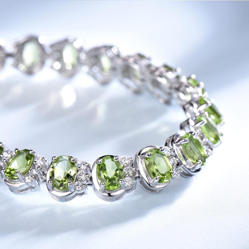 Image 4 - UMCHO Luxury 18.9ct Natural Peridot Bracelets For Women 925  Sterling Silver Chain Link bracelet Wedding Gemstone Fine  JewelryBracelets