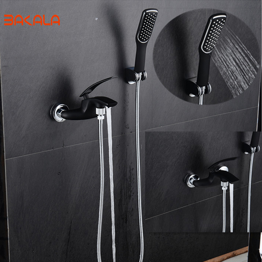 BAKALA Brass Bath Black Faucets Wall Mounted Bathroom Basin Mixer Tap Crane With Hand Shower Head Bath & Shower Faucet 2017004 gappo classic chrome bathroom shower faucet bath faucet mixer tap with hand shower head set wall mounted g3260