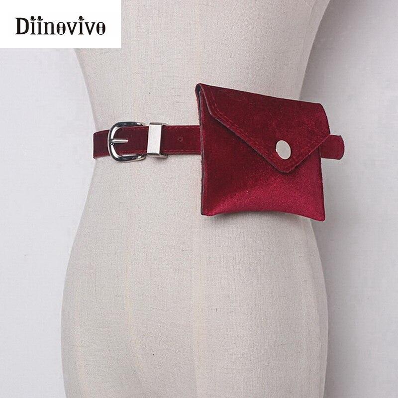 DIINOVIVO Fashion Women Waist Bag Leather Colorful Waist Packs Velvet Hip Belt Bum Fanny Pack Lady Pouch Bag Cell Phone WHDV0558