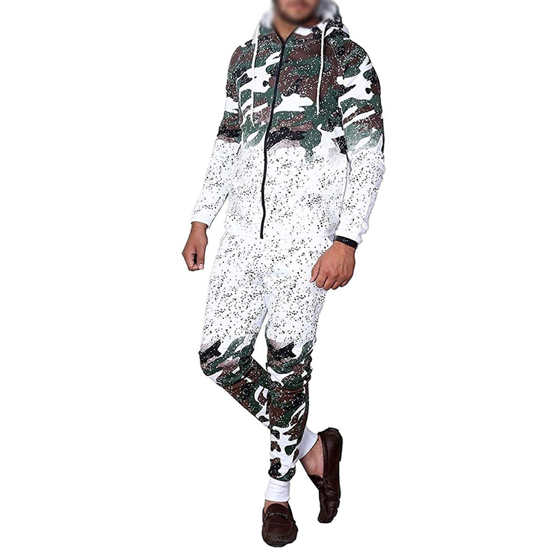 Zogaa Autumn 2 Pieces Set Casual Work Wear Cardigan Hooded Fashion Camouflage Print Male Hombre Tracksuit Sweat Suits Men