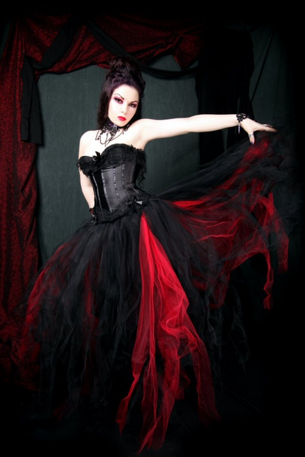 Red And Black Gothic Wedding Dresses Tulle Elegant lace Up Back Long ...