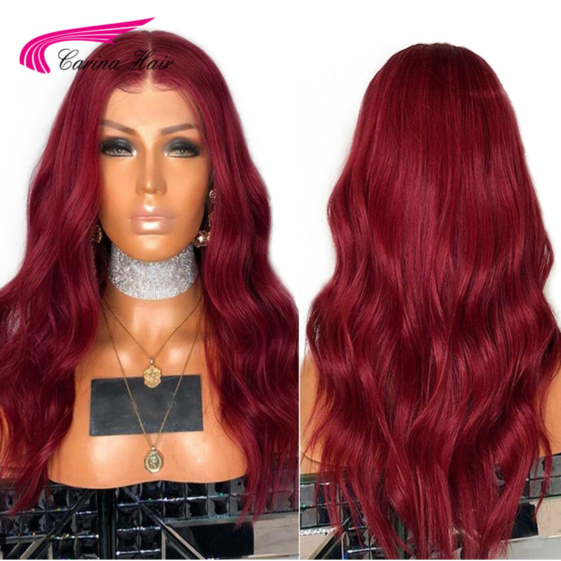 Carina 99J Body Wave Pre Plucked Lace Front Human Hair Wigs With Baby Hair 360 Lace Frontal Remy Hair Glueless Brazilian Wigs