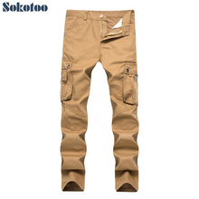 Sokotoo мужские повседневные Карманы Брюки карго плюс размер свободные хаки армейский зеленый черный staight длинные брюки