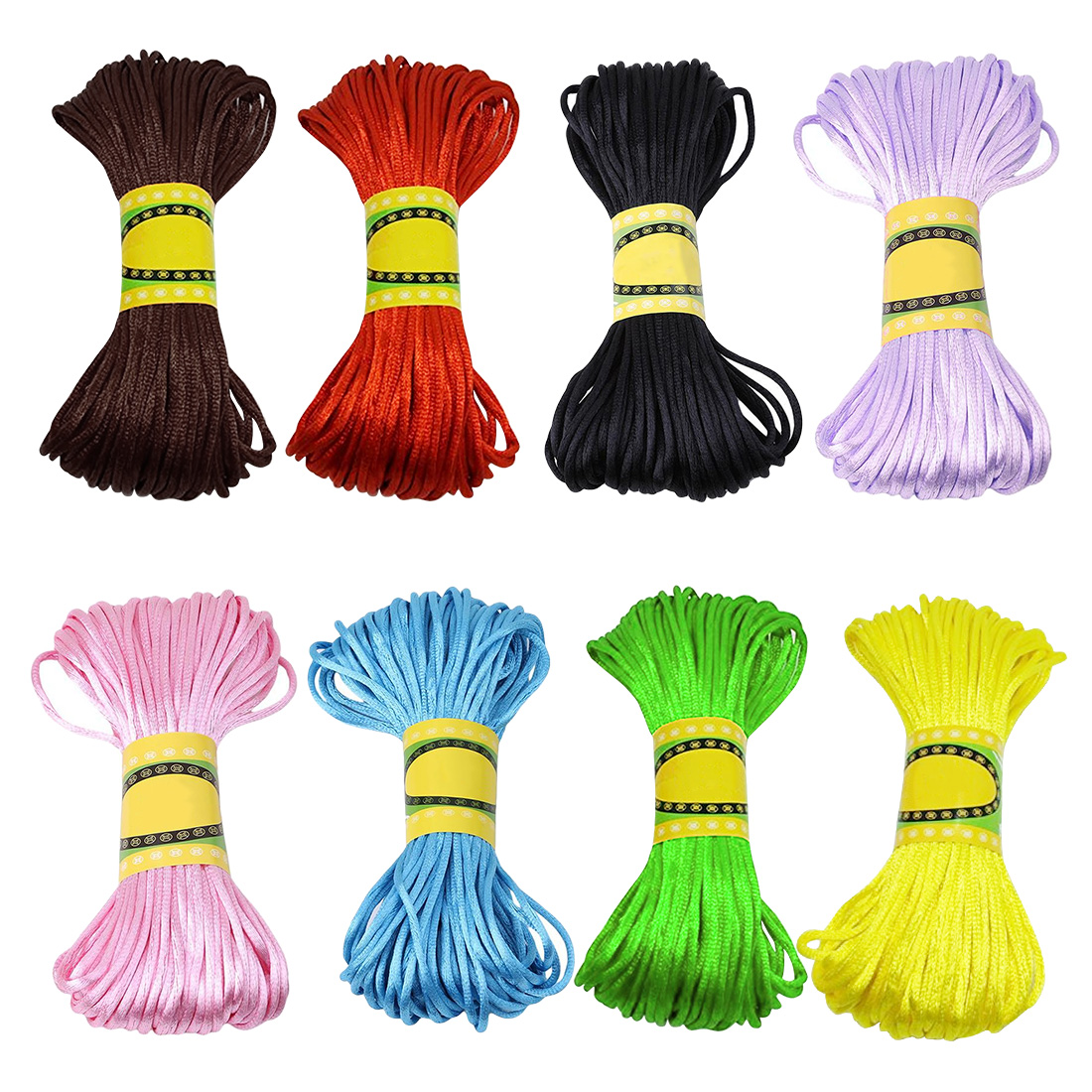 silk braided cord 20M Spool Thin 2MM Mix Color Nylon Black Chinese Knotting Macrame Cord Braided DIY Beading String in Jewelry Findings Components from Jewelry Accessories