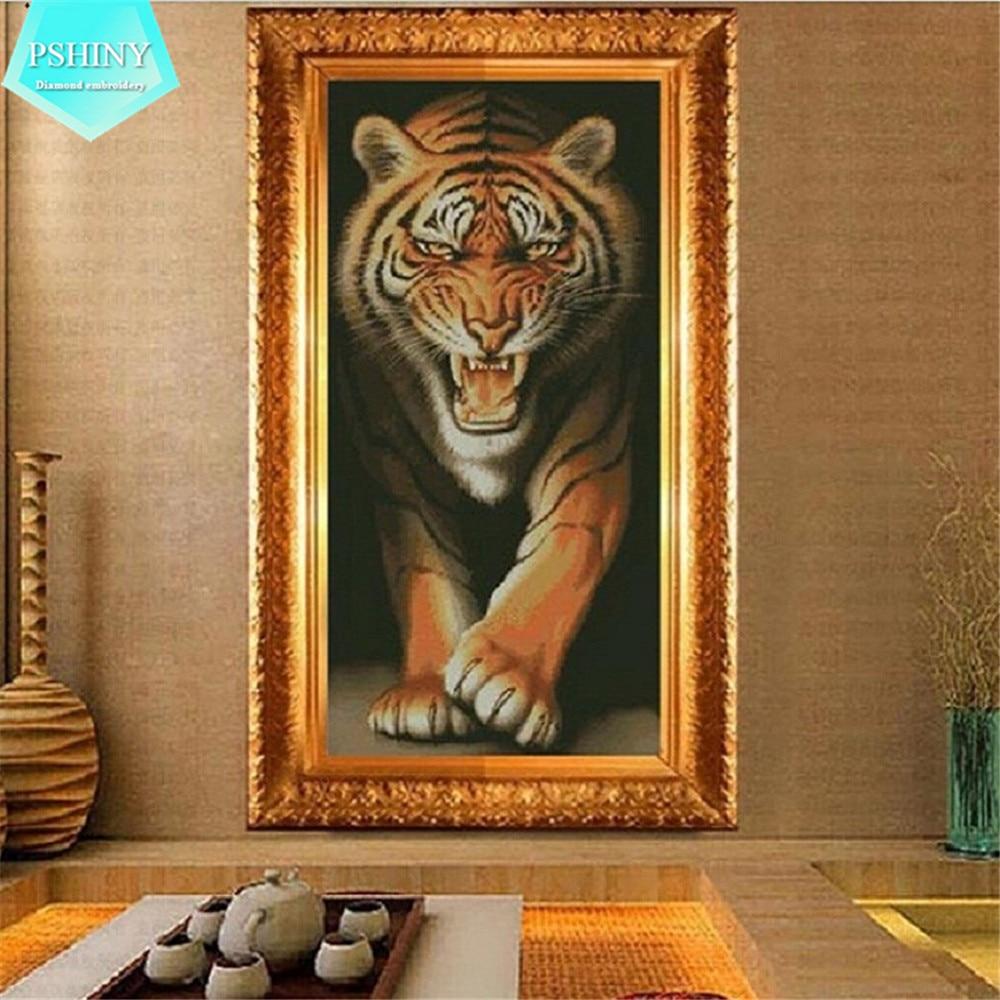 PSHINY 5d DIY diamantové výšivky prodej ferocious tiger obrázek mozaika zvířata diamantové malby Full Square Rhinestone cross stich