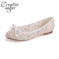 Sweet Bow Perspective See Through Lace Flat Woman Pointed Toe Shoes Dancing Prom Pumps Pink Blue