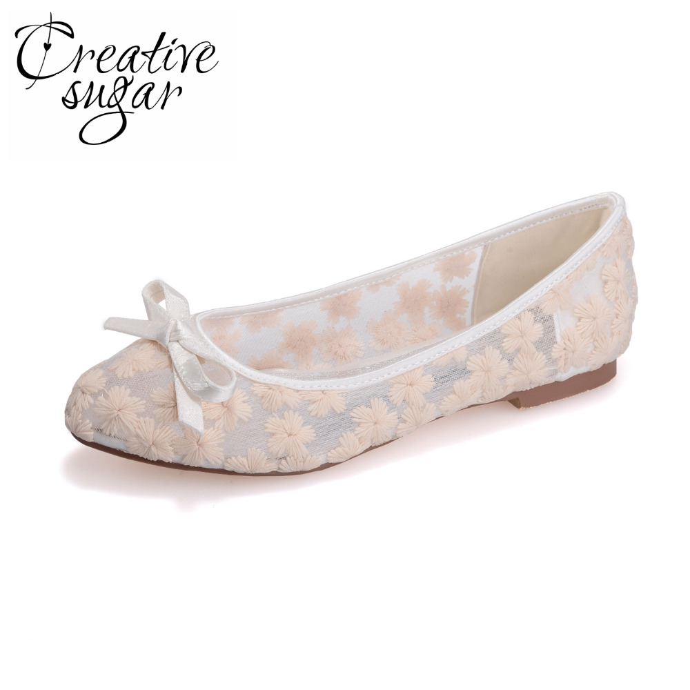 Creativesugar Sweet bow perspective see through lace flat woman pointed toe shoes prom pink blue ivory white sandals bridal shoe creativesugar elegant pointed toe woman